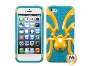 Yellow/Teal Spider Bite Silicone + Hard Protector Cover Case for iPhone 5