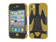 Black/Brown Rugged Cyborg Case + Silicone Cover w/Stand for iPhone 4 4S