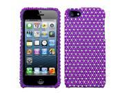 Dots (Purple/White) Bling Diamond Case +Screen Protector For iPhone 5 5S