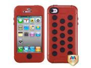 Red/Black TUFF Hard Case +Silicone +Screen Protector For iPhone 4 4S