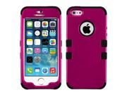 Pink/Black Coating TUFF Hard Case +Silicone +Screen Protector For iPhone 5 5S