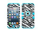 Zebra Skin/Teal TUFF Design Case +Silicone +Screen Protector For iPod Touch 5th