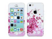 White/Pink Spring Flowers TUFF Design Case +Silicone +Screen For iPhone 5C