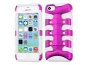 Pink/White Fishbone/Ribcage Rugged Hybrid Protector Cover Case for iPhone 5 C