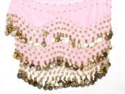 Dangling Gold Detail Belly Dance Hip Scarf - Light Pink