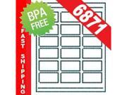 2000 Sheets (36000 Labels), 18-UP, 2-3/8 in x 1-1/4 in,  White Permanent I.D. Labels, ID Badges.  Same Size as Avery® 6871. [BPA FREE]