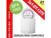 "Zebra/Eltron-Compatible 3 x 1 Labels (3"" x 1"") -- BPA Free! (21 Rolls&#59; 1,375 Labels per Roll)"