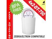 "Zebra/Eltron-Compatible 4 x 2 Labels (4"" x 2"") -- BPA Free! (4 Rolls&#59; 750 Labels per Roll)"