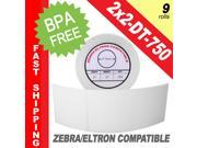 "Zebra/Eltron-Compatible 2 x 2 Labels (2"" x 2"") -- BPA Free! (9 Rolls&#59; 750 Labels)"