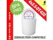 "Zebra/Eltron-Compatible 4 x 2.5 Labels (4"" x 2-1/2"") -- BPA Free! (6 Rolls&#59; 620 Labels per Roll)"
