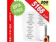 "(200 Sheets&#59; 800 Labels), Same Size as Avery© 5168, 4-UP, Shipping Labels (3.5"" x 5"") -- BPA Free!"