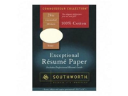 Southworth Company SOUR14ICF Resume Paper- Cotton Fiber- 24 lb- 8-.50in.x11in.- Ivory