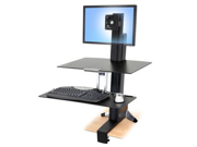 Ergotron 33-350-200 WorkFit-S Sit-Stand Workstation for Single LCD Monitor, LD, w/ Worksurface & Large Keyboard Tray (black and polished aluminum)