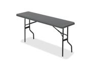 "Iceberg 65357 IndestrucTable TOO 1200 Series Foldlng Table Rectangle - 18"" x 60"" x 29"" - Polyethylene, Steel - Charcoal"