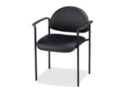 Lorell Reception Guest Chair Vinyl Black Seat - Vinyl Back - Steel Frame