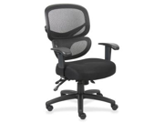 "Lorell Mesh-Back Fabric Executive Chairs Black, Silver - Fabric Black Seat - Mesh Black Back - 40.5"" Overall Dimension"