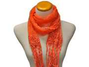 Coral Graceful Sheer Lace Long Scarf Wrap Shawl With Fringe