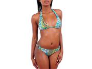 Blue & Green Multi Colored Vibrant Floral Bikini