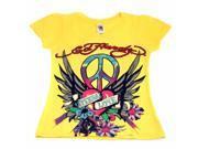 Young Girl's Yellow Multi Color Ed Hardy Eternal Love V-Neck Tee Shirt
