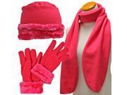 Hot Pink Cloche Fur Trim Fleece 3 Piece Hat Scarf & Glove Set