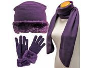Purple Cloche Fur Trim Fleece 3 Piece Hat Scarf & Glove Set