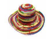 Multi Color Rainbow Crochet Crushable Floppy Sun Hat