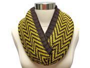 Brown & Yellow Chevron Pattern Thick Knit Infinity Circle Scarf