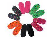 Polka Dot & Solid Fleece Assorted 6 Pair Pack Ballerina Styled Slipper Socks