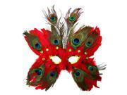 Red Butterfly Peacock Masquerade Feather Mask