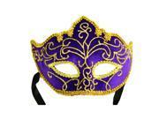 Purple Velour & Gold Brocade Mardi Gras Face Mask