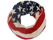 Americana Printed Use Flag Warm Knit Red White & Blue Circle Scarf
