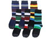 Colorful Bold Striped Men's 6 Pack Assorted Knit Dress Crew Socks