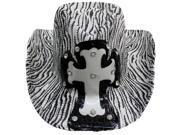 Black & White Zebra Stripe Cowboy Hat With Cross