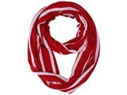 Red & White Stripe Circle Infinity Lightweight Scarf