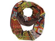 Brown Colorful Abstract Print Circle Scarf