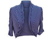 Navy Blue & White Pinstripe Cropped Bolero Shrug Jacket