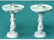 Dollhouse BIRD BATH W/BIRD, GRAY, 2PC