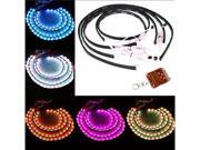 """7 Color Wireless Remote RGB LED Strips under Car Neon Lights Underbody Lights Kit 36""""*2 & 48""""*2"""