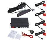 Car LED Parking Reverse Backup Radar System with Backlight Display + 4 Sensors Red