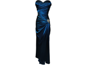 Strapless Long Satin Bandage Gown Bridesmaid Dress Prom Formal Crystal Pin