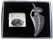 3 inch blade Feather Shaped Knife &  Eagle Oil Lighter Gift Box Set
