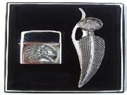3 inch blade Feather Shaped Knife &  Oil Lighter, Indian Profile, Gift Box Set