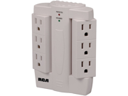RCA PSWTS6R 6-Outlet Surge Protector Wall Tap