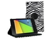KIQ (TM) Zebra 360 Rotating Leather Case Pouch Cover Skin Stand for Google Nexus 7 2nd Second Gen Generation