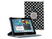 KIQ Black Polka Dots Design 360 Rotating Folio PU Leather Case Cover Stand Skin for Samsung Galaxy Tab 2 10.1 Inch P5100