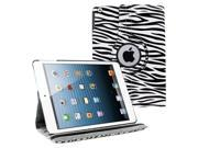 KIQ (TM) Zebra 360 Rotating Leather Case Pouch Skin Stand for Apple Ipad Air 5 5th Generation w/ Smart Cover Function