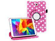 "KIQ (TM) Hot Pink Polka Dots Design 360 Rotating Leather Case for Samsung Galaxy Tab 4 7"" T230"