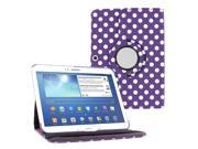 "KIQ (TM) Polka dots Purple 360 Rotating Leather Case Cover Skin for Samsung Galaxy Tab 3 10.1"" P5200"