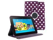 KIQ (TM) Polka Dots Purple 360 Rotating Leather Case Pouch Cover Skin Stand for Kindle Fire HD 7""