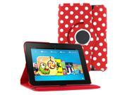 """KIQ (TM) Polka Dots Red 360 Rotating Leather Case Pouch Cover Skin Stand for Kindle Fire HD 7"""""""